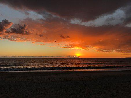 Sunset, Sun, Sea, Cabo De Gata, Almeria, Clouds, Red