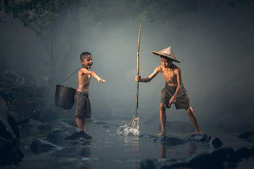 Children, Fishing, The Activity, Asia, Background, Prey