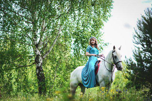 Girl With A Horse, Horse, White Horse