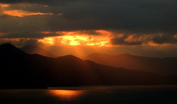 Sunset, Mountains, Island, Scenic, Tropical, Clouds