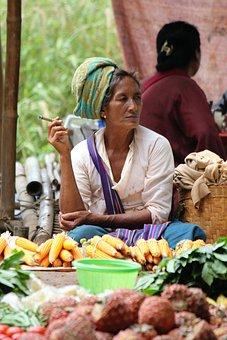 Myanmar, Cigar, Smoking, Market, Woman, Portrait