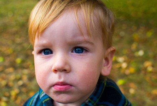 Child, A Serious, Portrait, Blue Eyes, Cute, Blonde