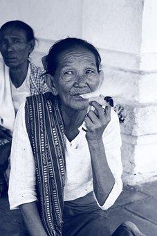 Burma, Cigar, Myanmar, Woman, Human, Portrait, Old
