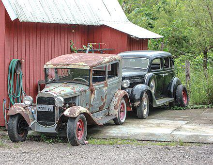 Red, Cars, Green, Rust, Tire, Old