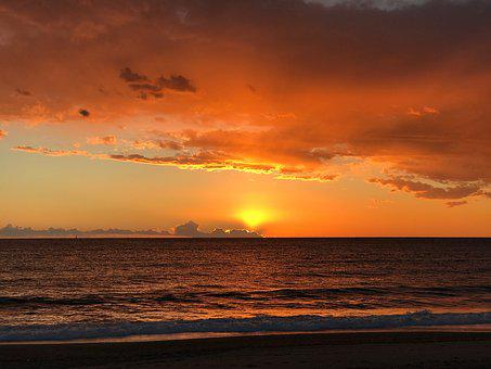 Almeria, Sunset, Cabo De Gata, Sea, Sun, Water
