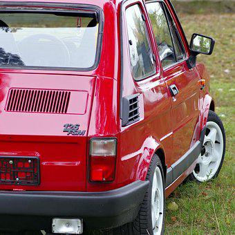 Small Fiat, Toddler, Fiat, 126p, Car, Auto, Red