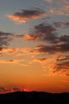Sunset, Red, Clouds, Chamois, Bratislava, Transmitter