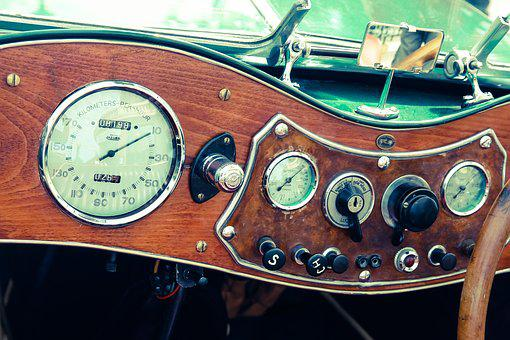 The Instrument Panel, Car, Clock Face, Vintage, Veteran