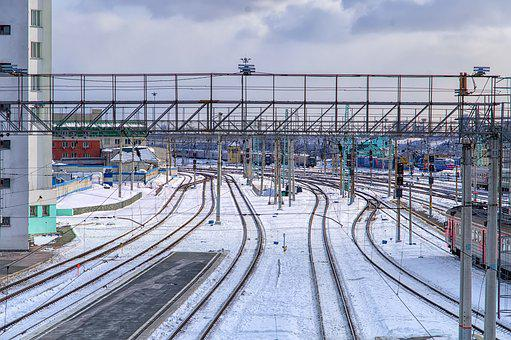 Station, Snow, Railway, Rail, Rails, The Way, Motion