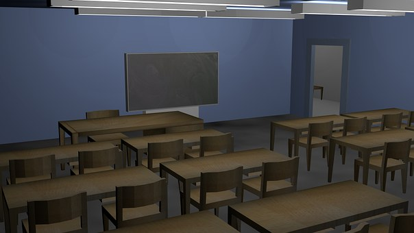 Class Room, School, Class, Chairs, Table, Building