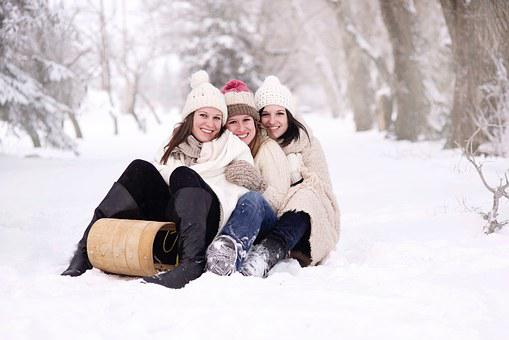 Snow, Women, Happy, Joy, Girls, Happiness, Toboggan