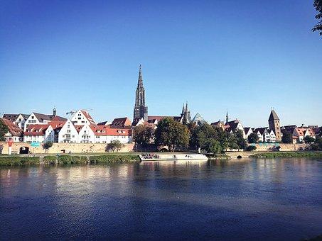 Ulm, Münster, Hell, Sunny, Day, Autumn, Danube