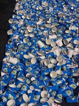 Waste, Drinking, Marathon, Rotterdam, Plastic Glasses