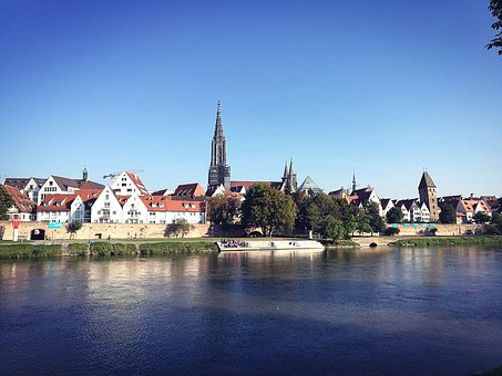 Ulm, Münster, Hell, Sunny, Day, Autumn, Danube