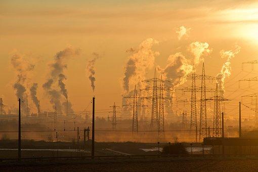 Industry, Sunrise, Sky, Air, Pollution