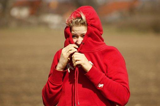 Girl, Red, Young, Beautiful, Sample, Sweatshirt, White
