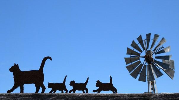 Cats, Black, Silhouette, Windmill, Buellton, Family