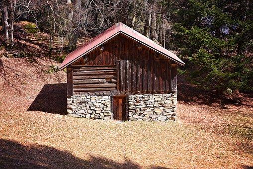 Hut, Log Cabin, Barn, Wood Mint, Old, Forest, Glade