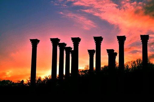Arboretum, Sunset, Dc, Washington, Columns, Greek