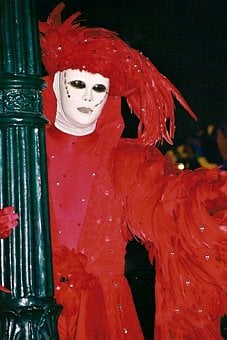 Carnival, Masks, Venice, Panel, Costume, Move