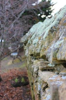 Stone Fence, Old, Weathered, Aged, Lichen, Moss, Garden