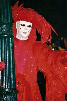 Carnival, Masks, Venice, Panel, Costume, Move
