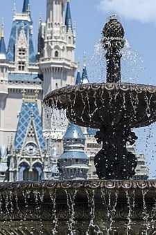 Fountain, Disney World, Magic Kingdom, Castle, Fun Park