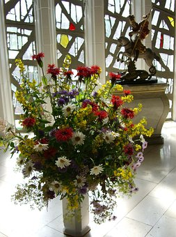 Church Jewelry, Bouquet, Colorful, Glass Concrete Wall