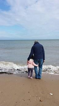 Beach, Hug, Grandad, Girl, Cuddle, Relationship