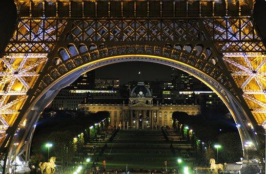 Eiffel Tower, Night, Hotel Des Invalides, Paris