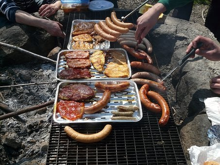 Barbecue, Fireplace, Meat, Sausage, Red, Red Sausage