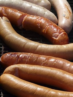 Red Sausage, Sausage, Barbecue, Grill, Fire, Heat