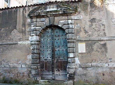Medieval Street Door, Studded Door, Green Wooden Door