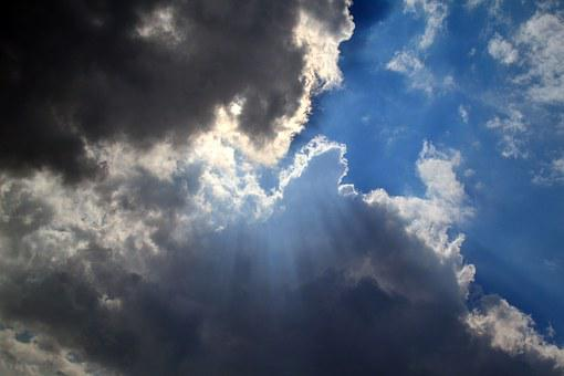 Clouds, Sky, Miracle, Blue, Radiating, Light, Darkness