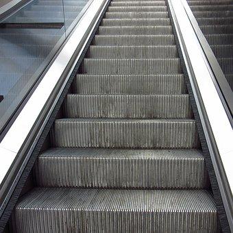 Escalator, Gradually, Upward, Up, Movement, Metal