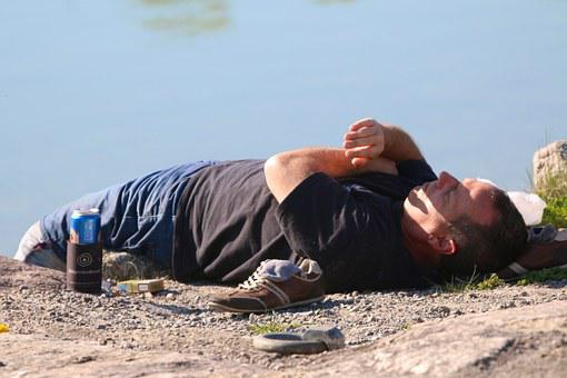 Water, Ground, Man, Beer Can, Cigarette Box, Shoes