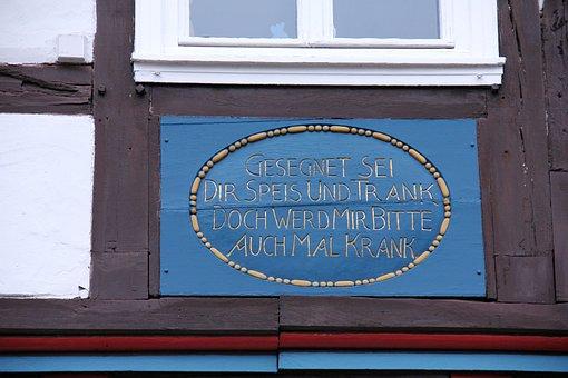 Building, Truss, Fachwerkhaus, Inscription, Font, Blue