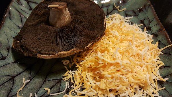Cheese, Mushroom, Portobelo, Cap, Food