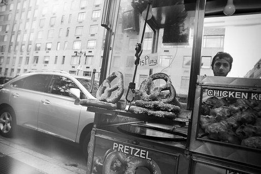 Pretzels, Stand, Vendor, Food, Street, City, Urban