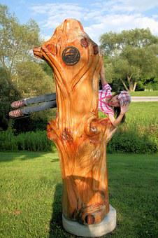 Girl, Child, Play, Illusion, Carving, Wood Carving