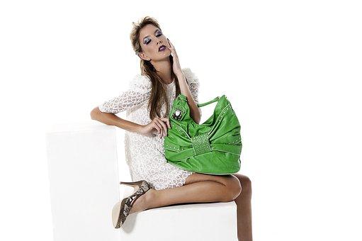 Fashion, Model, Green, Handbag, Commercial, Woman