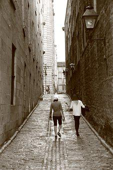 Person, Woman, Walk, Lane, Black And White, Relaxation