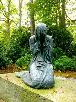 Sculpture, Woman, Bronze Statue, Statue, Fig, Mourning
