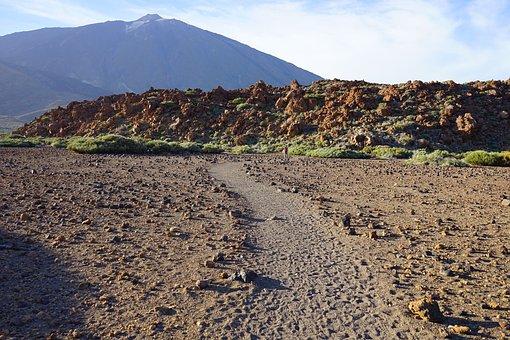 Teide, Away, Path, Sand, Desert, Lava, Lava Flow