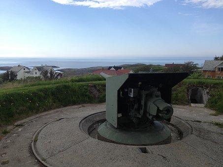 Cannon, Bid, Norway, Fortress, Sea