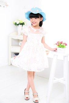 Child, Girls, Portrait, Photo, White Dress, Hat, Bid