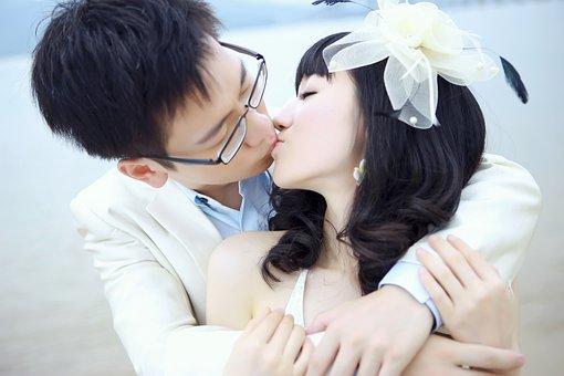 Kiss, On, Love, Romantic, Asia, China, Bid
