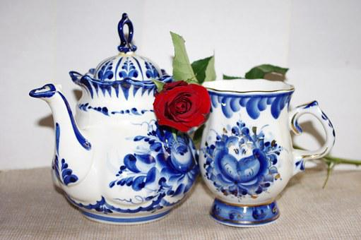 Porcelain, Gzhel, Rose, Maker, Cup