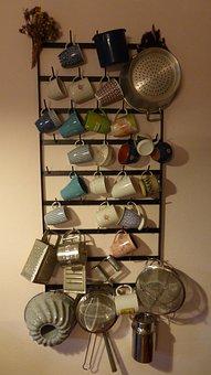 Kitchen Shelf, Shelf, T, Kitchen, Country House, Cup