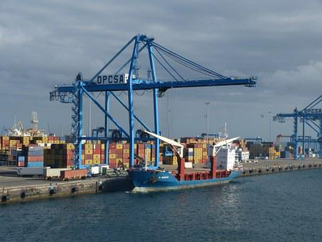 Container, Port, Water, Ship, Shipping
